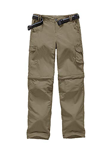 Kids Boy's Youth Outdoor Quick Dry Lightweight Cargo Pants, Hiking Camping Fishing Zip Off Convertible Pants (9016 Khaki S)