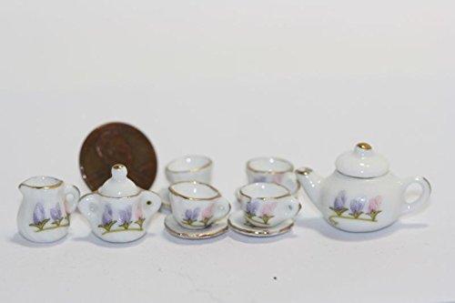 Dollhouse Miniature Morning Glory Floral Tea Set