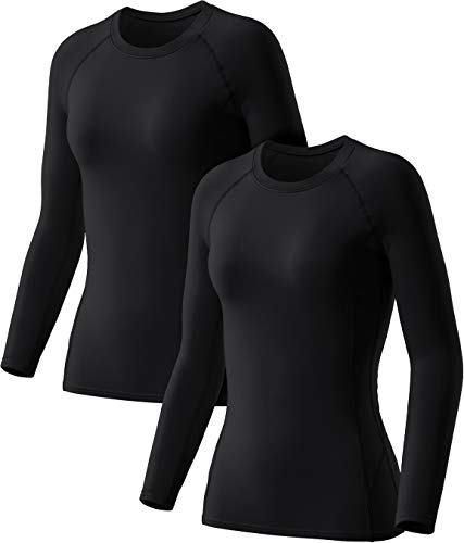 TSLA Women's Thermal Long Sleeve Tops, Mock Turtle & Crew Neck Shirts, Fleece Lined Compression Base Layer, Wintergear 2pack(xud74) - Black/Black, Small