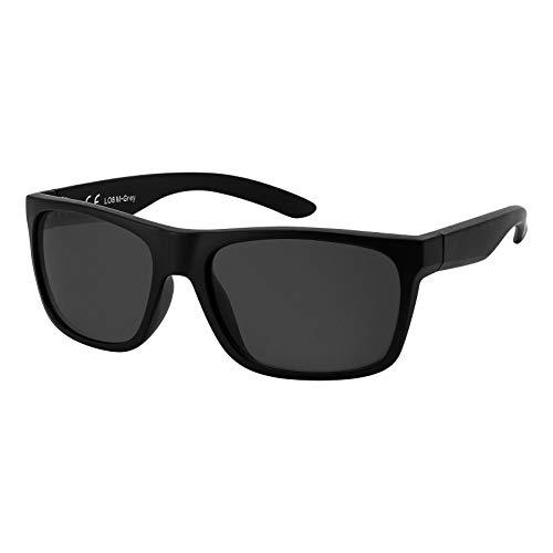La Optica B.L.M. Herren Sonnenbrille UV400 Männer Sportbrille Fahrradbrille - Matt Schwarz (Gläser: Grau Klassisch)