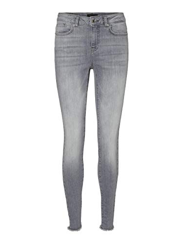 Vero Moda VMHANNA MR SK Raw EDG Jeans BA2158, Denim Grigio Chiaro, XL_32 Donna