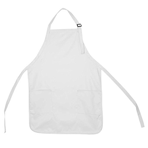 Apron Commercial Restaurant Home Bib Spun Poly Cotton Kitchen Aprons (2 Pockets) in White