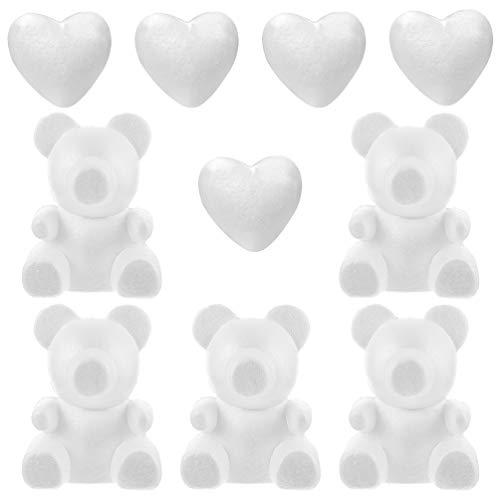 VALICLUD 10 Pz Polistirolo Polistirolo Modellazione Schiuma Cuore Orso Forme Stampo per Artigianato Fai da Te Rose Orsi Composizioni Floreali Matrimonio San