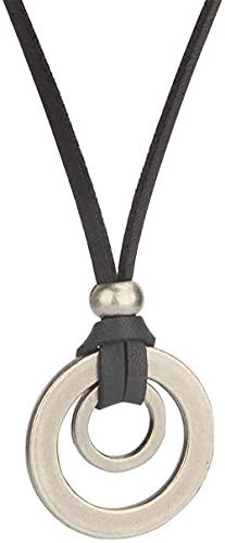 WYDSFWL Collares de Moda para Hombre, Colgantes, Collar, Retro, Largo, Negro, Cadena de Cuerda, círculo Negro, joyería de aleación Ajustable, Negro