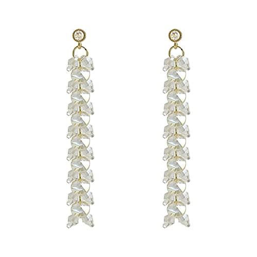 QIN Pendientes de Borla Largos de Cristal Elegantes clásicos Pendientes de Fiesta de Temperamento de joyería de Moda Coreana para Mujer Pendientes versátiles