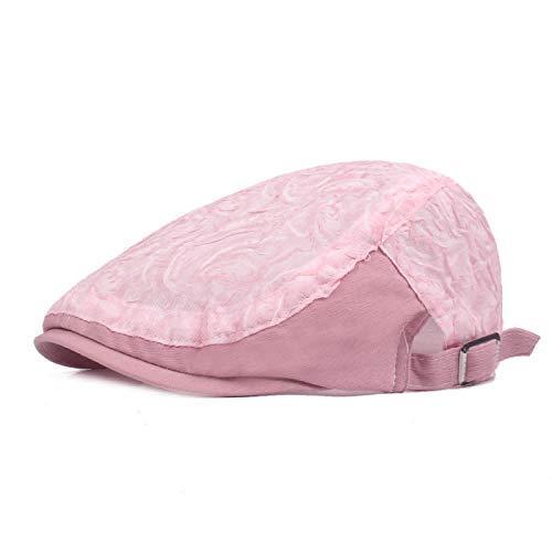 Herren-Baskenmützen, Mode-Damen-Hüte Stilvolle verstellbare Zeitungsjunge Flache Mützen Atmungsaktive Sommer-Mesh-Baskenmützen Retro Ivy Caps Berets @ Pink