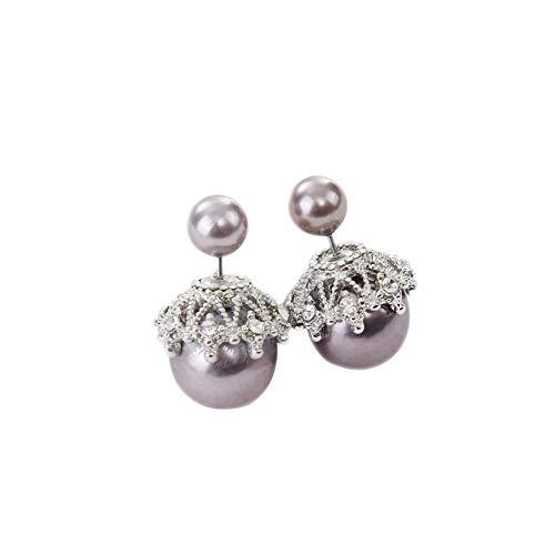 Da.Wa Ohrringe Doppelseitige Perle Ohrstecker Brautkleid Abendkleid mit Accessoires Lila