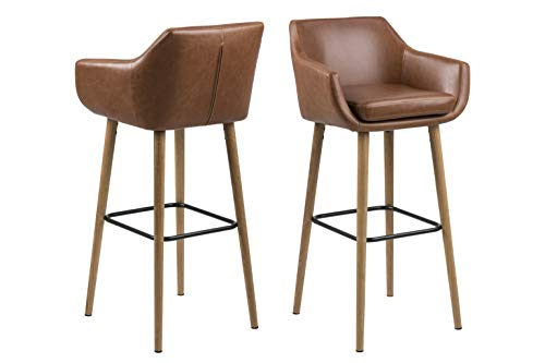 AC Design Furniture Trine barkruk, imitatieleer, cognac Scandinavisch B: 55 x T:54 x H: 101 cm cognac