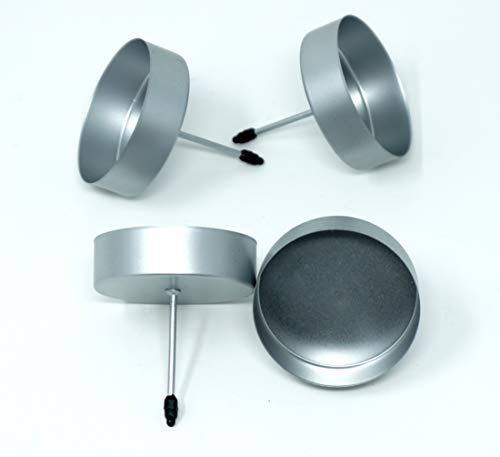 CBK-MS 4 Kerzenhalter silber ohne Dorn für LED Kerzen bis Ø 7 cm Kerzenpick für Adventskranz oder Blumengesteck