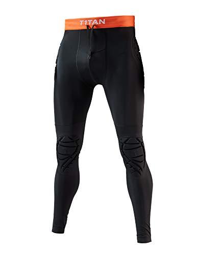 T1TAN Pantaloni protettivi 2.0 per Portiere, Pantaloni Imbottiti per portieri con Protezione per i Fianchi e Le Ginocchia Taglia L