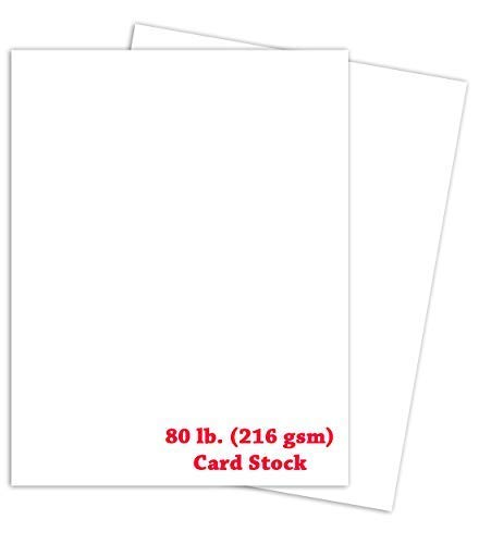 White Card Stock Paper | 8 ½ x 11 Inches | Letter (US) Paper Size | 50 Sheets Per Pack | 80lb Cover Smooth (216gsm)