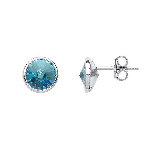 Jewelco Europa Pendientes de botón con solitario de aro de aro redondo de cristal aguamarina bañados en rodio de plata esterlina para mujer