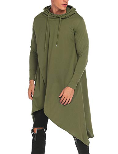 COOFANDY Mens Casual Hooded Poncho Cape Cloak Irregular Hem Hoodie Pullover,Large,Army Green