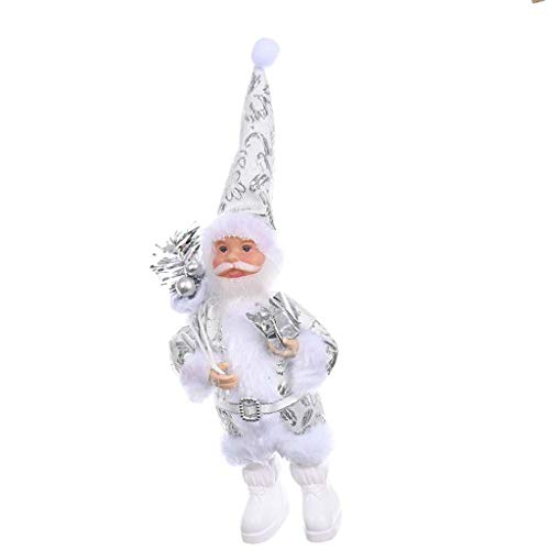 Dinfoger Christmas Santa Claus Doll Toy Christmas Tree Hanging Ornaments Home Party Decor with Silver