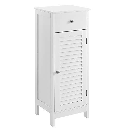 [en.casa] Badezimmerschrank Weiß - 87 x 30 x 30cm - Badschrank Standschrank Schrank Kommode