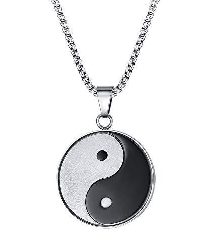 Vnox Della Collana del Pendente delle Donne degli Uomini in Acciaio Inox di Yin Yang Bagua Protettivo Talisman