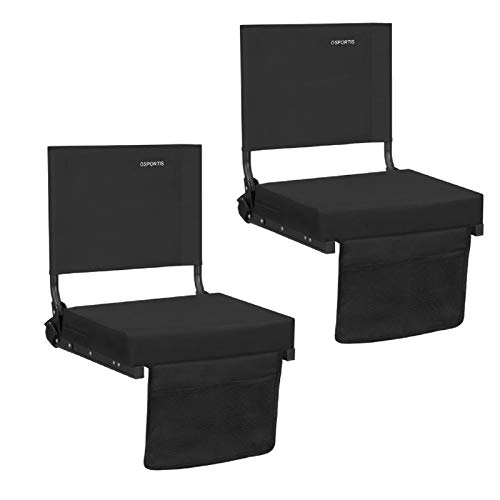OSPORTIS Stadium Seats for Bleachers with Back Support, Bleacher Seats with Backs and Cushion, Wide Padded Portable Stadium Seats Chairs with Backs and Shoulder Strap, Black, 2 Pack