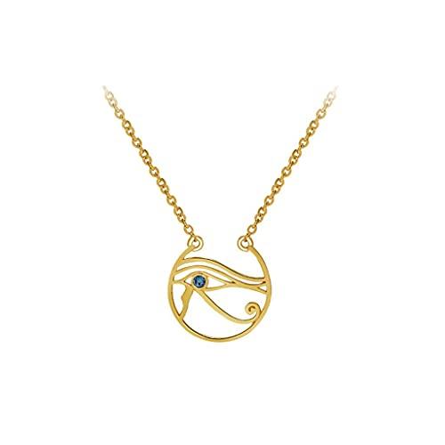 SMEJS Collar con colgante de ojo de Horus para mujer, cobre chapado en oro, para esposa, mamá, niñas, cumpleaños, Navidad, cadena de 45 cm/17,7 pulgadas