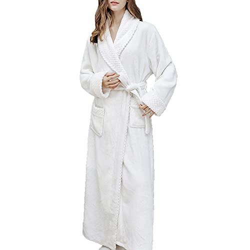 GAOHONGMEI Albornoz largo para mujer, de franela, suave, con cinturón para ducha, cama, sala de estar, color blanco