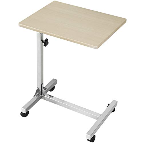 Over Bed Table C Sofa Side Medical Table with Lockable Wheels, 3 Height Adjustable Food Table Tray, Multi-Purpose Portable Rolling Desk Wood (18.9x14.7x26.4-31.1 inch)