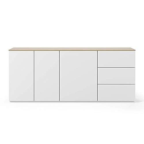 Buffets Design et élégants, Collection Join, signée TEMAHOME. - Join 200H1, Base Classique, Blanc Mat, Plateau en chêne