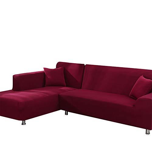 Yinnn Funda para sofá en Forma de L, Protector Cubierta de Muebles, Protector Ajustables de Sofá, Antimanchas Ajustable, para el salón, 4-Seat 235-300cm Burgundy