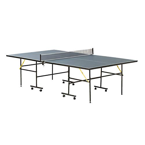 Global Gizmos 54039 9ft Table Tennis Table / Set Includes Net, Posts, 2 Paddles & 3 Ping Pong Balls / Quick & Safe Folding System / 8 Wheels With Independent Locking Feature