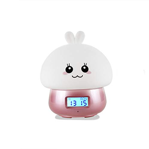 QMMCK Nachtlampje, paddenstoellamp, USB-oplaadwekker, 7-kleurig, kinderen wakker worden, zachte ogen verzorging bedlampje