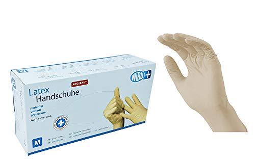 100 Stück Latexhandschuhe rau in Spender-Box – puderfrei, nicht steril – Einweghandschuhe Einmalhandschuhe (M)