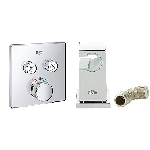 GROHE Grohtherm Smartcontrol | Brause- und Duschsysteme - Thermostat | mit 2 Verbrauchern | 29124000 + GROHE Euphoria Cube | Zubehör - Wandanschlussbogen | 1/2 Zoll | 26370000