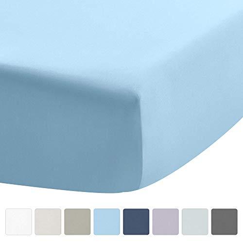 UMI Sábana Ajustable - 400 Hilos 100% algodón Rey Tamaño de la Hoja de Cama, de Color Azul, se Ajusta colchón hasta 16