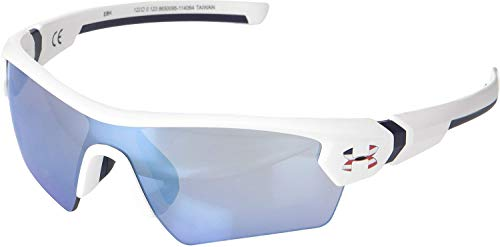 Under Armour Kids' Menace Wrap Sunglasses Shield, SATIN WHITE WITH NAVY/UA TUNED BASEBALL WITH BLUE, 122 mm