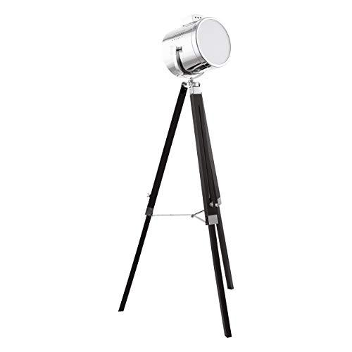 EGLO Stehlampe Upstreet, 1 flammige Stehleuchte Vintage, Standleuchte aus Holz und Stahl, Wohnzimmerlampe in Schwarz, Chrom, Lampe mit Tritt-Schalter, E27 Fassung