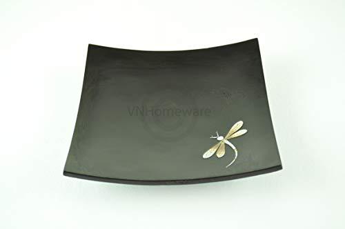 faite à la main en bois laqué plaque incrusté Egg-shell Merveille, forme carrée, décoratifs et assiette de service, taille Medium, Noir, H045 m