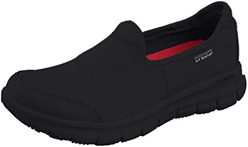 Skechers for Work Women's Sure Track Slip Resistant Shoe, Black, 7.5 M US