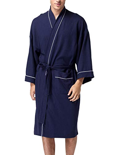 Unisex Badjas Lichtgewicht Wafelkatoenverband Japon Kimono-Gewaden met V-Hals Loungewear Pocket Badjas Zachte Huisjassen met lange Mouwen voor All Seasons Spa Hotel Pool Sleepwear