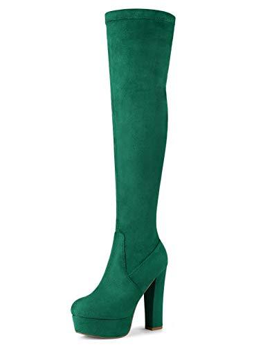 Allegra K Women's Platform Block Heel Green Over Knee High Boots - 10 M US