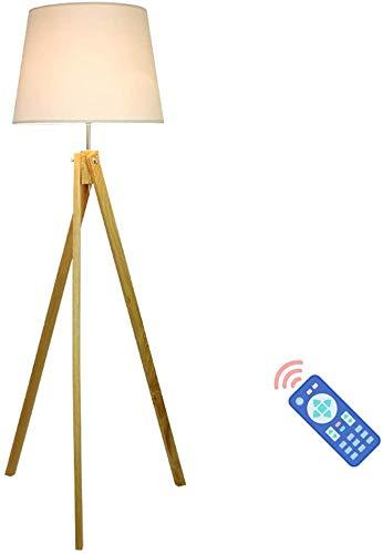 LOKKRG Lámpara de pie de Madera,trípode de luz de pie con Regulable,Control Remoto,Pantalla de Tela,Enchufe E27,lámpara de pie de 12W para Sala de Estar,Dormitorio,