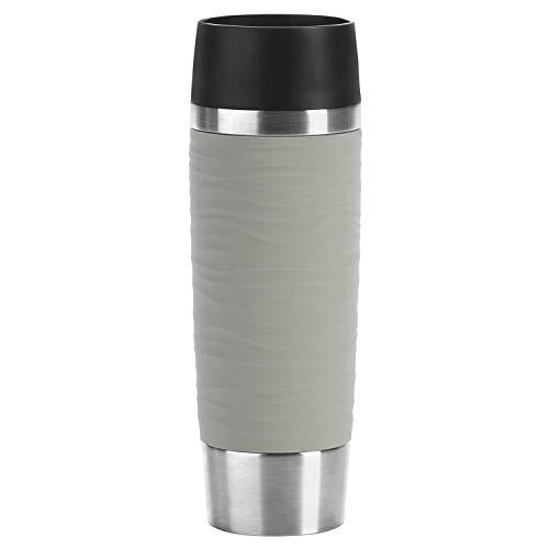 Emsa N20122 Travel Mug Wave-Design Thermobecher/Isolierbecher (500 ml, hält 6h heiß/12h kalt, 100 Prozent dicht, auslaufsicher, Easy Quick-Press-Verschluss, 360°-Trinköffnung) pudergrau
