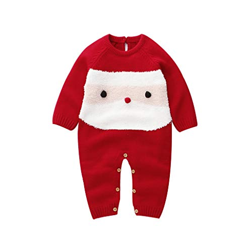 Livoral Neugeborenes Baby Weihnachten Santa Cartoon Plüsch Strampler Xmas Knit Jumpsuit(Rot,3-6 Monate)