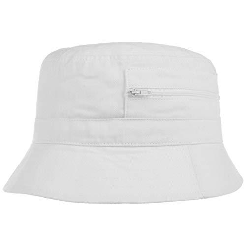 Lipodo Fischerhut Damen/Herren - Aus Baumwolle - Anglerhut mit eingenähter Tasche (Reißverschluss) - Sommerhut als Sonnenschutz - Farben blau, Oliv, weiß weiß 59 cm