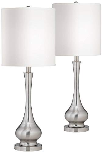 Modern Table Lamps Set of 2 Brushed Steel Tall Gourd White Drum Shade for Living Room Family Bedroom Bedside - Possini Euro Design