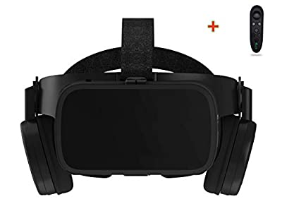 LONGLU VR Headset Compatible For iPhone and Android Phone, 3D Glasses Virtual Reality With Wireless Bluetooth Earphone for TV,Movies and Video Games, Private iMax, VR Helmet Stereo for Android 4.7-6.2