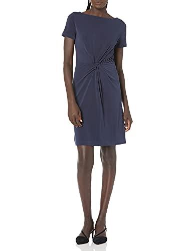 Marca Amazon – Lark & Ro – Vestido retorcido en el centro de punto crepé de manga corta para mujer, Marino, US 12 (EU L)