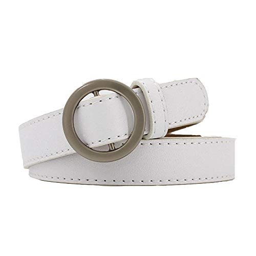 Damengürtel, runde Schnallen, feine Gürtel, lässige Studentengürtel Weiß 110cm