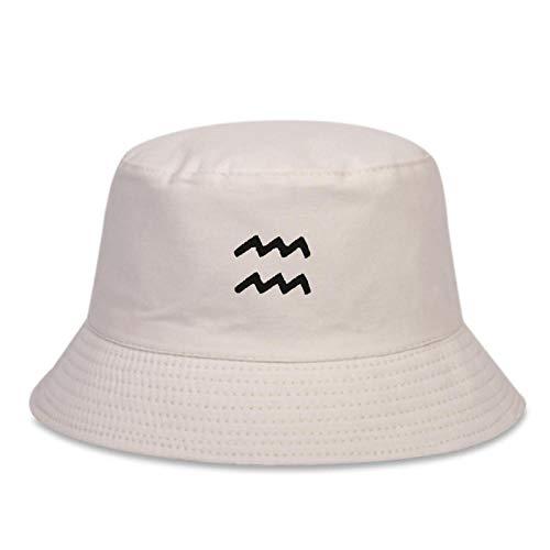 ZHENQIUFA Sombrero Pescador Gorras Hip-Hop Moda Algodón Sombrero De Pescador Aquarius Sombrero De Cubo Bordado Ocio Salvaje Sombreros De Panamá Mujeres Al Aire Libre Sombreros para El Sol-Beige