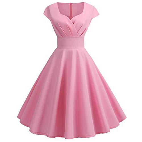 Vestido retro de manga corta con cuello en V para mujer Rosa rosa 40