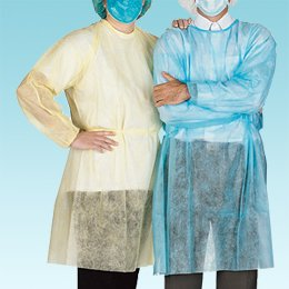 Disposable Isolation Gown, Medical Latex-Free Non-Woven Surgical Gowns with Knit Cuff - Pack of 10