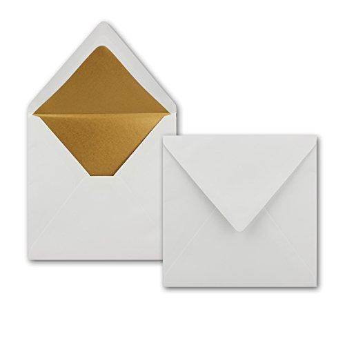 25 Quadratische Brief-Umschläge 16,5 x 16,5 cm in Weiß mit goldenem Seidenfutter - Nassklebung Brief-Kuverts - 120g/m² - Serie: NEUSER PAPIER