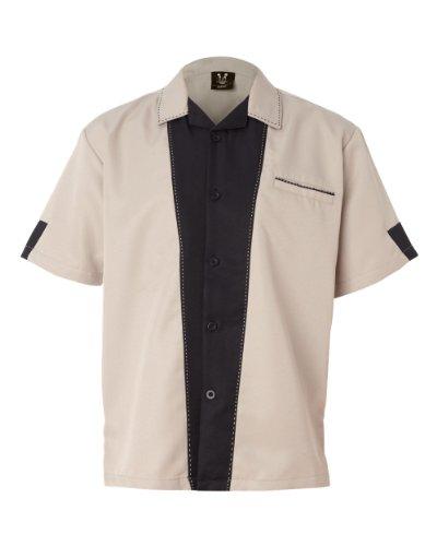 Hilton Men's Bowling Retro Monterey Shirt, Khaki/Black, XXX-Large